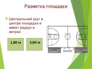 Разметка площадки Центральный круг в центре площадки и имеет радиус в метрах