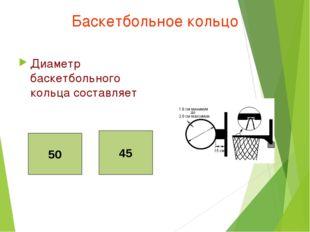 Баскетбольное кольцо Диаметр баскетбольного кольца составляет 50 45 50 45