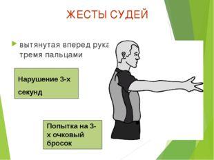 ЖЕСТЫ СУДЕЙ вытянутая вперед рука с тремя пальцами Нарушение 3-х секунд Попыт