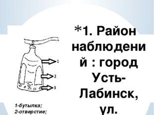 1. Район наблюдений : город Усть-Лабинск, ул. Энгельса 71 (территория МБОУ СО