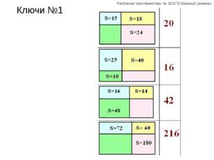 Ключи №1 Разбиение пространства. № 20 ЕГЭ (базовый уровень)