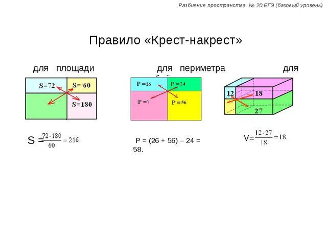 Правило «Крест-накрест» для площади для периметра для объёма Р = (26 + 56) –...