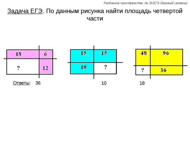 Задача ЕГЭ. По данным рисунка найти площадь четвертой части Ответы: 36 10 18...