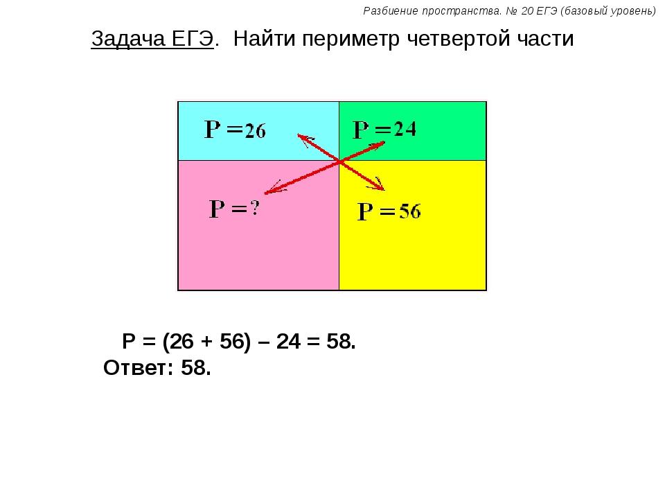 Задача ЕГЭ. Найти периметр четвертой части Р = (26 + 56) – 24 = 58. Ответ: 58...