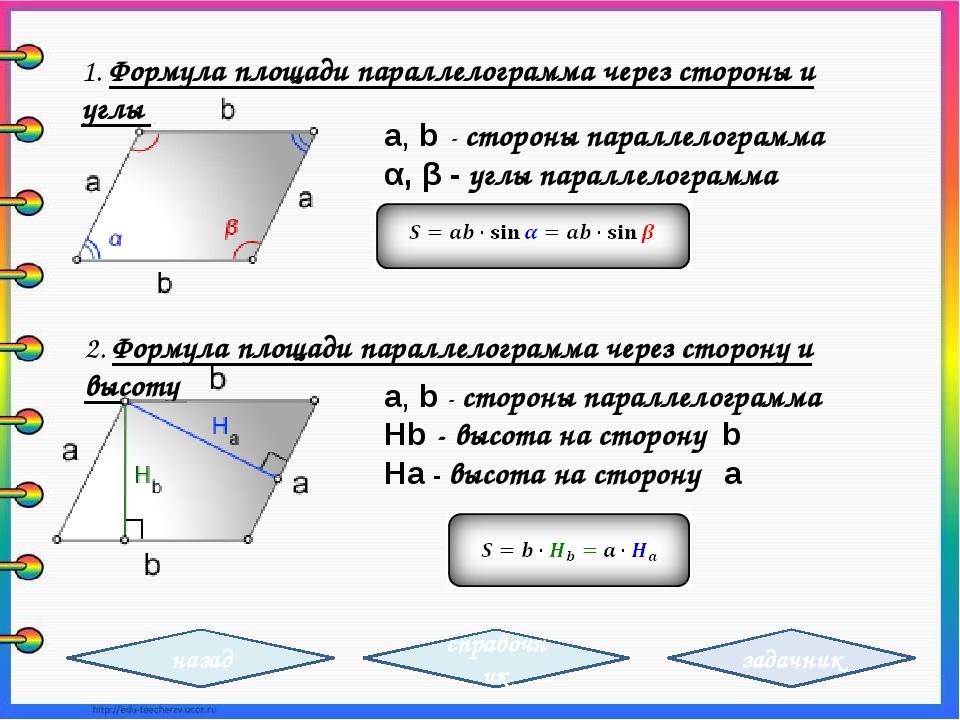 a, b - стороны параллелограмма α, β -углы параллелограмма 1. Формула площади...