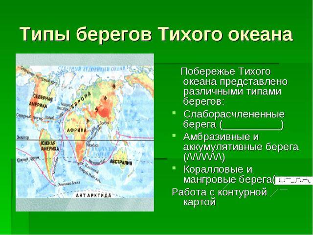 Типы берегов Тихого океана Побережье Тихого океана представлено различными ти...