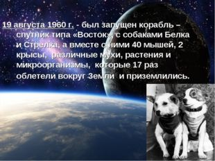 19 августа 1960 г. - был запущен корабль – спутник типа «Восток», с собаками