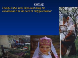 Family Family is the most important thing for circassians.It is the core of ""