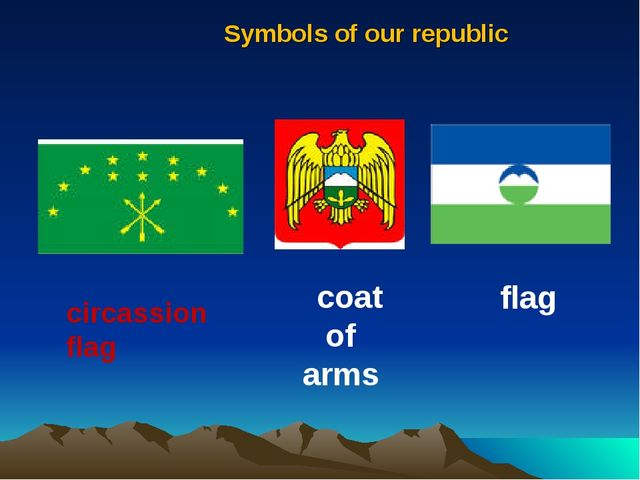 Symbols of our republic circassion flag flag coat of arms