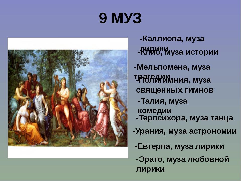 9 МУЗ -Каллиопа, муза лирики -Клио, муза истории -Мельпомена, муза трагедии -...