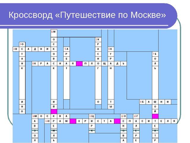 Кроссворд «Путешествие по Москве» 1 М   О2 К 3 О...