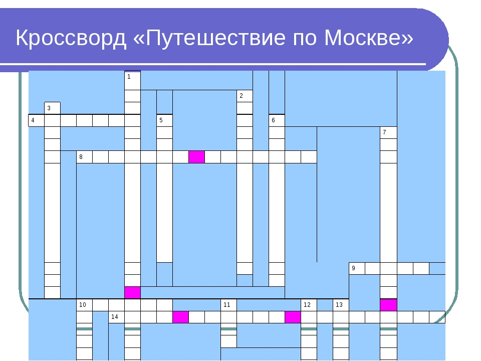 Кроссворд «Путешествие по Москве» 1   2  3 4...