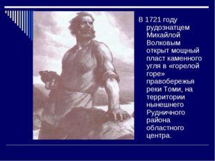 В 1721 году рудознатцем Михайлой Волковым открыт мощный пласт каменного угля