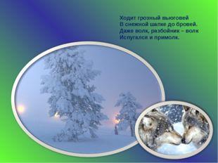 Ходит грозный вьюговей В снежной шапке до бровей. Даже волк, разбойник – волк