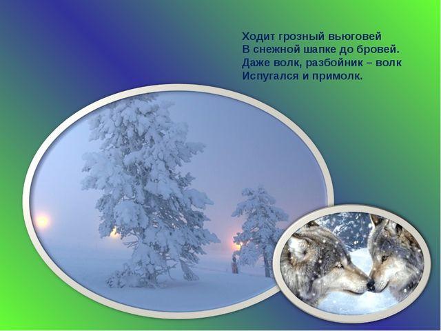 Ходит грозный вьюговей В снежной шапке до бровей. Даже волк, разбойник – волк...