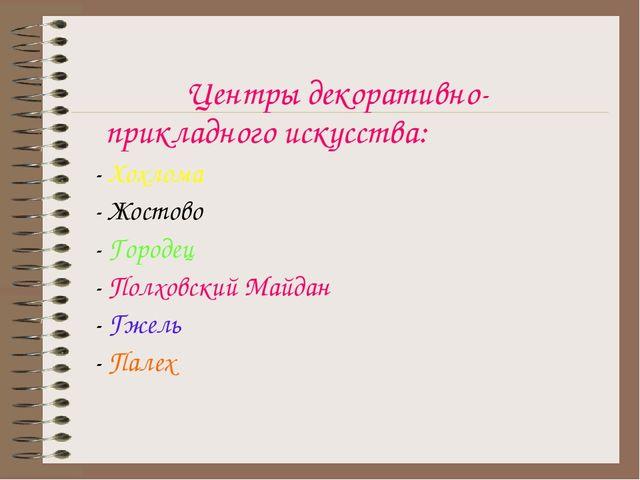 Центры декоративно-прикладного искусства: - Хохлома - Жостово - Городец - По...