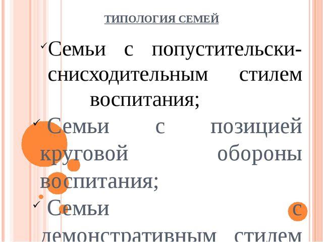 ТИПОЛОГИЯ СЕМЕЙ Семьи с попустительски-снисходительным стилем воспитания; Се...
