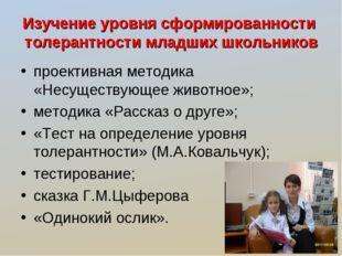 Изучение уровня сформированности толерантности младших школьников проективная