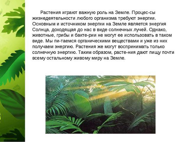 Растения играют важную роль на Земле. Процес-сы жизнедеятельности любого орг...