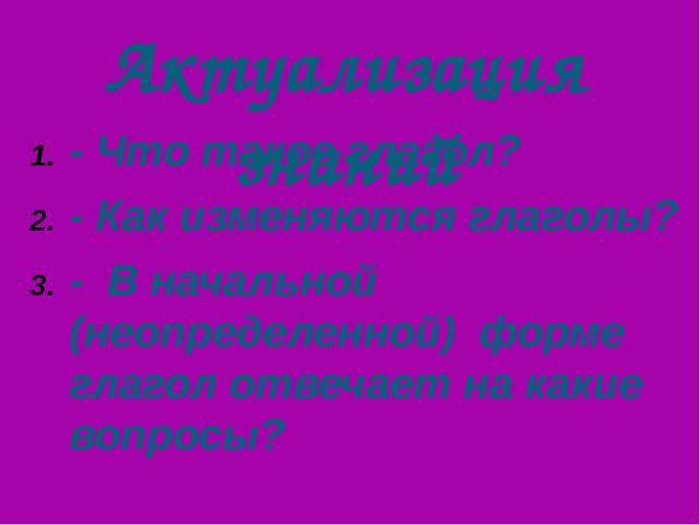 Актуализация знаний - Что такое глагол? - Как изменяются глаголы? - В начальн...
