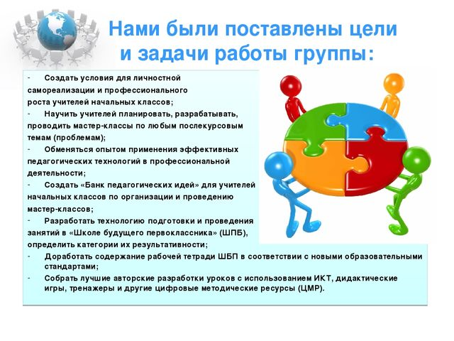 Нами были поставлены цели и задачи работы группы: Создать условия для личн...