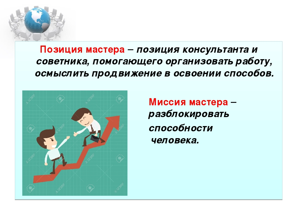 Позиция мастера – позиция консультанта и советника, помогающего организовать...
