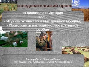 Исследовательский проект по дисциплине История Цель: - Изучить хозяйство и бы