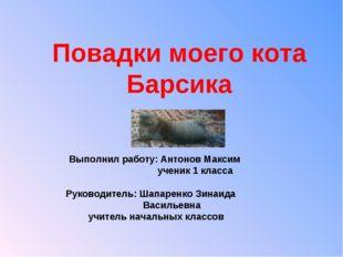 Повадки моего кота Барсика Выполнил работу: Антонов Максим ученик 1 класса Ру