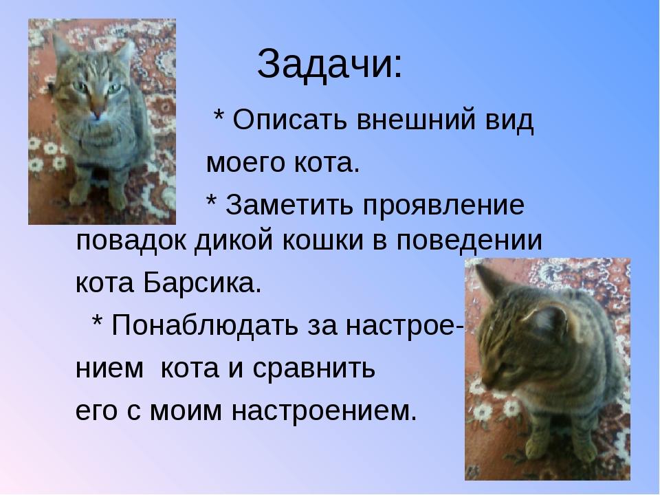 Задачи: * Описать внешний вид моего кота. * Заметить проявление повадок дикой...