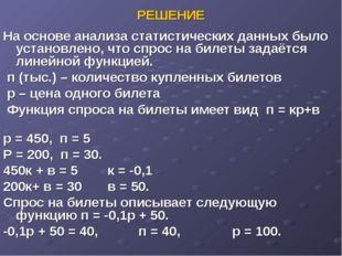 РЕШЕНИЕ На основе анализа статистических данных было установлено, что спрос н