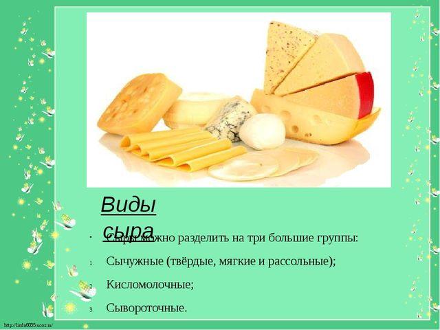 Виды сыра Сыры можно разделить на три большие группы: Сычужные (твёрдые,мягк...