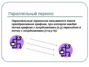 Параллельный перенос Параллельным переносом называется такое преобразование