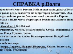 СПРАВКА р.Волга Река в Европейской части России. Небольшая часть дельты Волги
