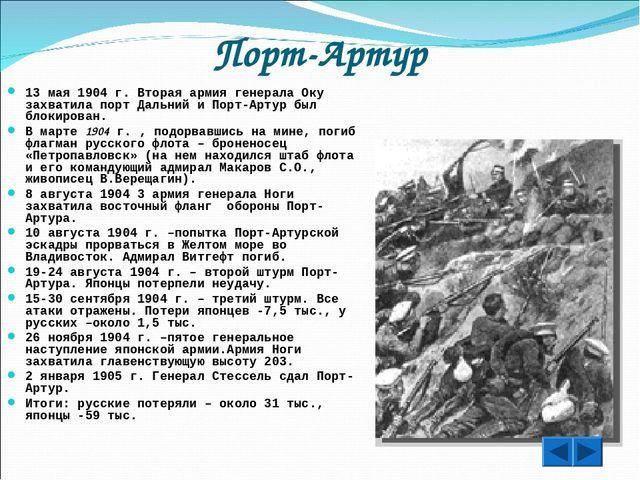 Порт-Артур 13 мая 1904 г. Вторая армия генерала Оку захватила порт Дальний и...