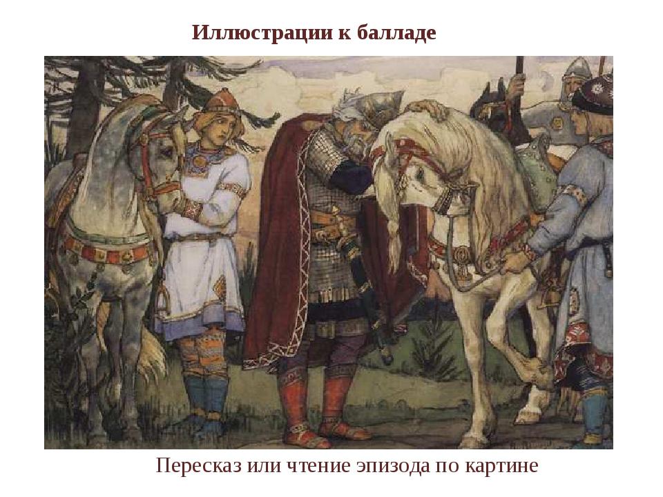 Иллюстрации к балладе Пересказ или чтение эпизода по картине