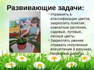 Развивающие задачи: Упражнять в классификации цветов, закреплять понятия: ком