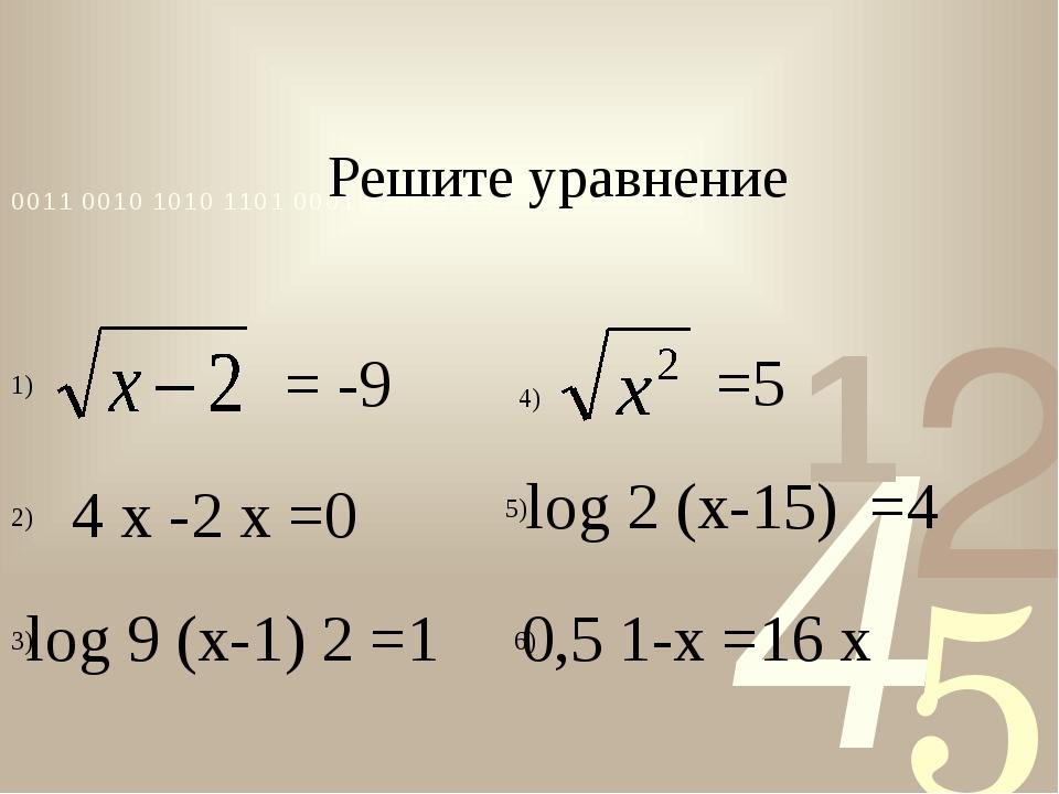 = -9 =5 4x-2x=0 log9(x-1)2=1 0,51-x=16x log2(x-15)=4 Решите у...