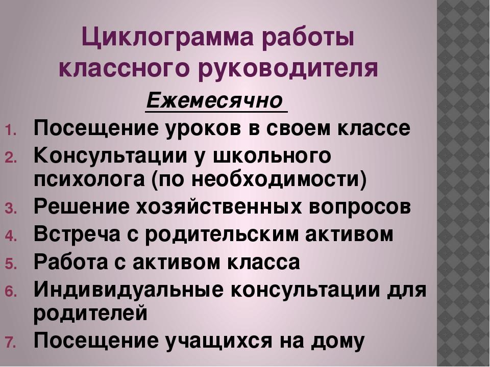 Циклограмма работы классного руководителя Ежемесячно Посещение уроков в своем...