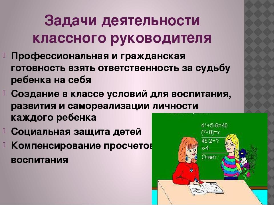 Задачи деятельности классного руководителя Профессиональная и гражданская гот...