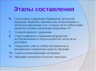 Этапы составления 6. Сопоставить содержание Примерной, авторской программ. Вы