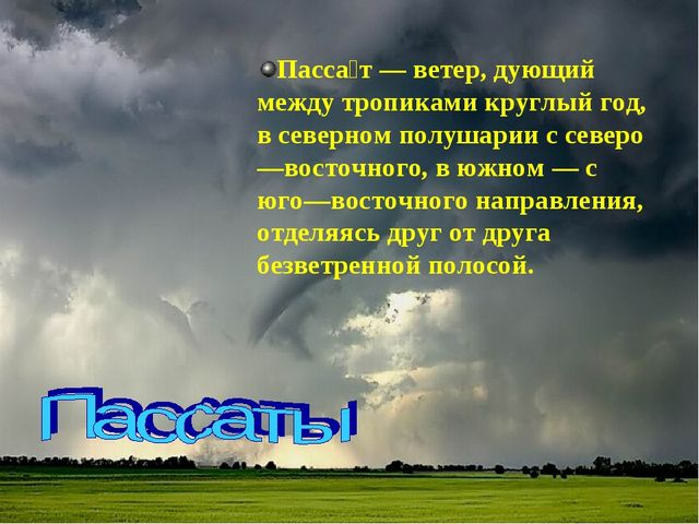 Пасса́т— ветер, дующий между тропиками круглый год, в северном полушарии с с...
