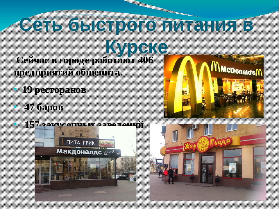 Сеть быстрого питания в Курске Сейчас в городе работают 406 предприятий общеп...