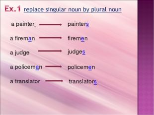 a painter a fireman a judge a policeman a translator painters firemen judges