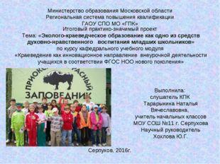 Министерство образования Московской области Региональная система повышения кв