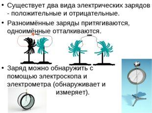 Существует два вида электрических зарядов - положительные и отрицательные. Ра