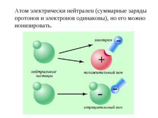 Атом электрически нейтрален (суммарные заряды протонов и электронов одинаковы