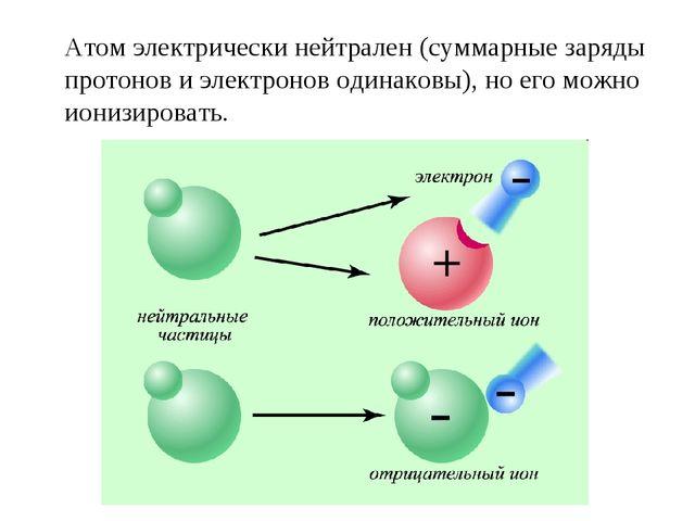 Атом электрически нейтрален (суммарные заряды протонов и электронов одинаковы...