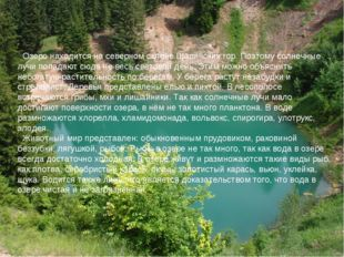 Озеро находится на северном склоне Шаринских гор. Поэтому солнечные лучи поп