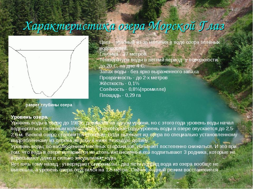 Характеристика озера Морской Глаз Цвет - зелёный из-за наличия в воде озера з...