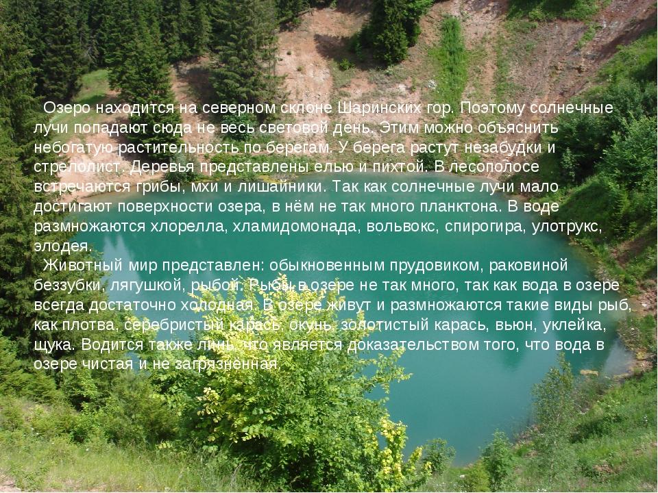 Озеро находится на северном склоне Шаринских гор. Поэтому солнечные лучи поп...